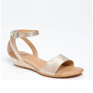 Born Crown Landis Gold Metallic Leather Sandal 12
